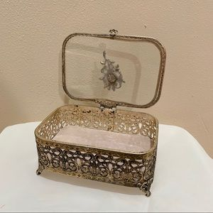 Vintage rose victorian jewelry box